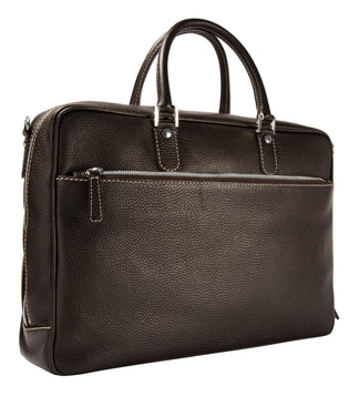 Leather briefcase espresso brown