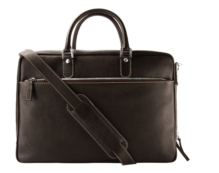 Leather briefcase espresso brown (2002915590206)