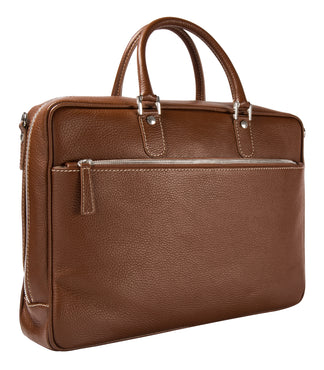 Leather briefcase tan
