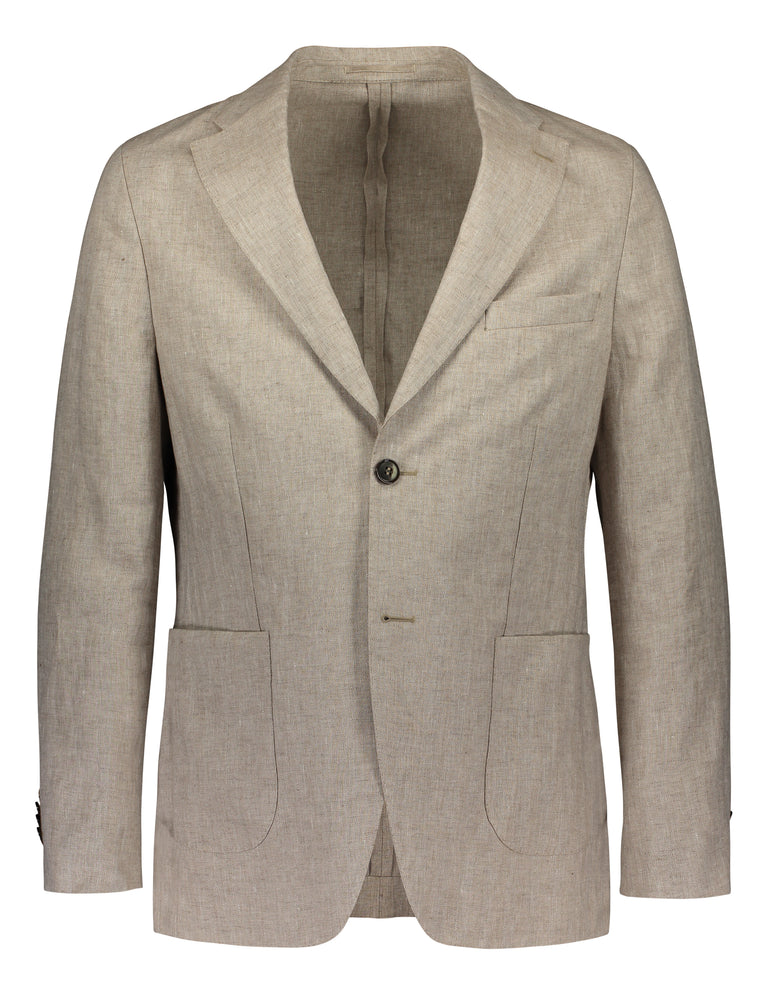 Slim fit blazer in beige linen (2139500773438)