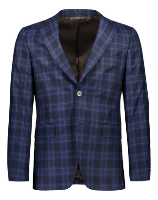Slim fit blazer in blue italian check (4290712338494)