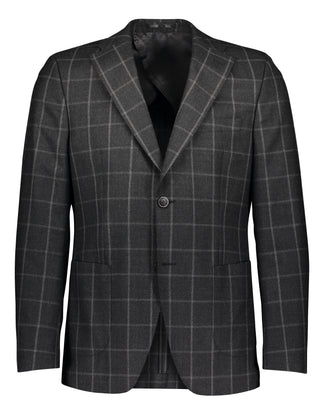 Slim fit suit in mohair flannel with window pane