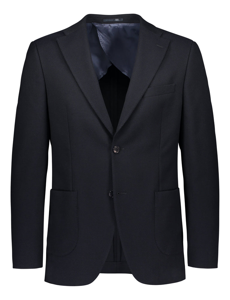 Casual cotton mix blazer in navy blue