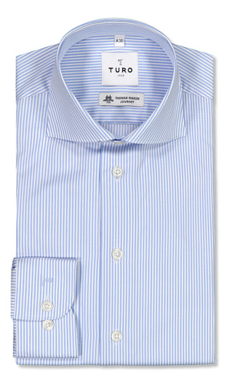 Slim fit shirt in Thomas Mason journey blue stripe