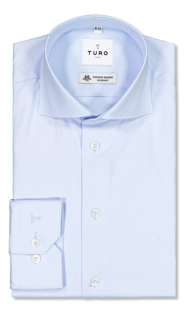Modern fit shirt in Thomas Mason journey blue