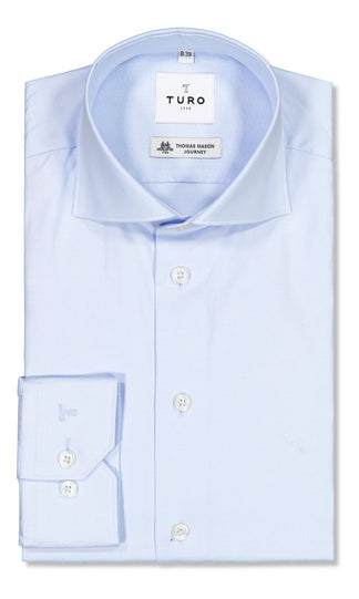 Modern fit shirt in Albini oxford blue