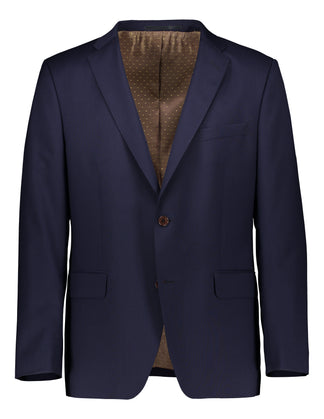 Slim fit suit in natural stretch wool navy