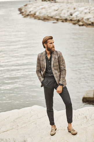 Slim blazer from natural mix by Tollegno
