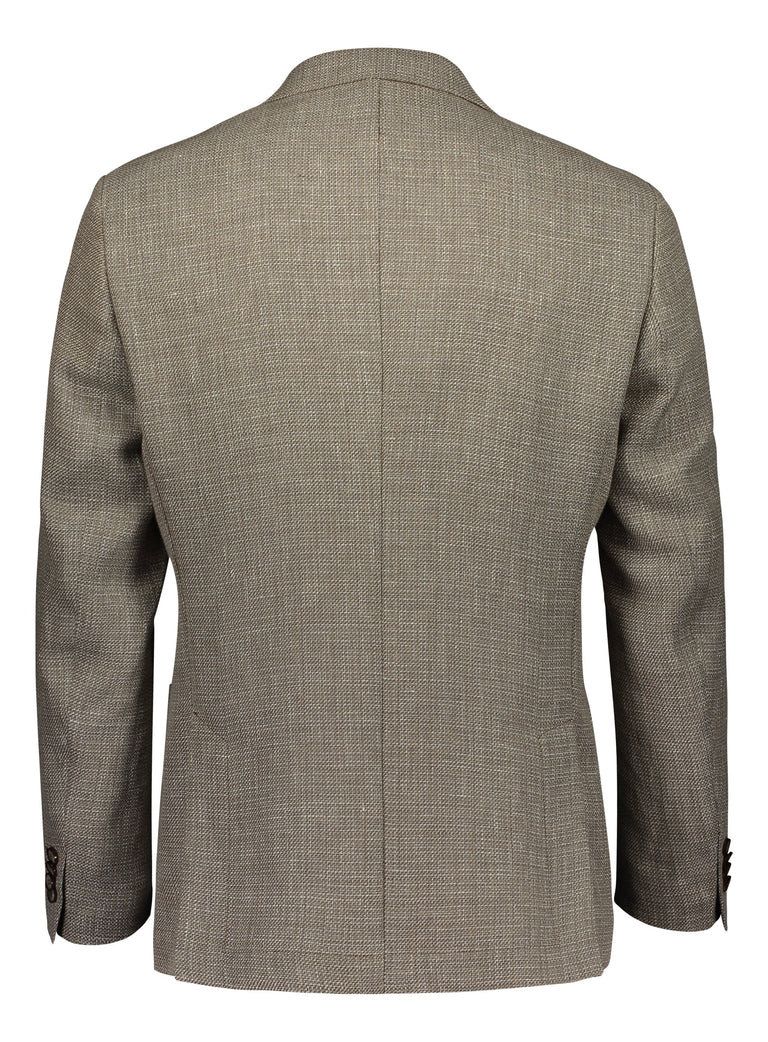 Beige basket weave blazer in regular fit