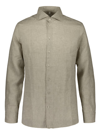 Slim fit shirt in beige linen