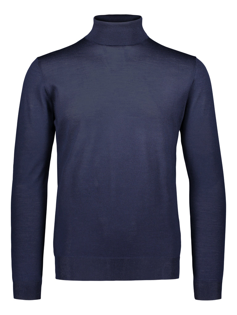 Merino rollneck knit in blue