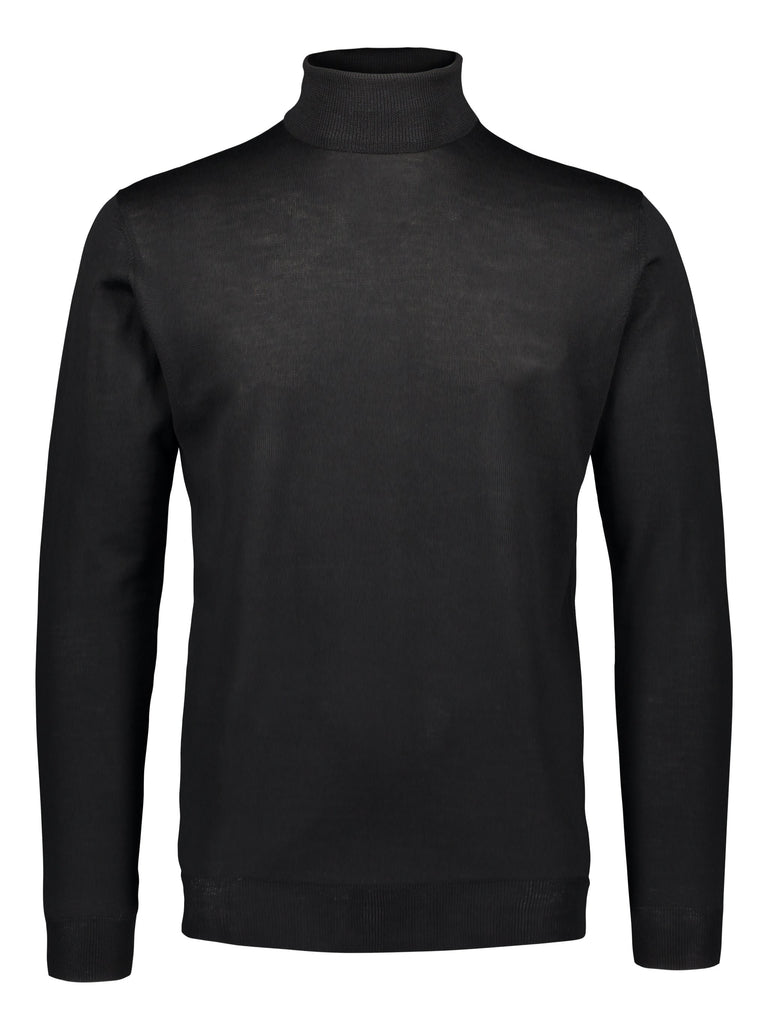 Merino rollneck knit in black (1487647309886) (4721222287422)