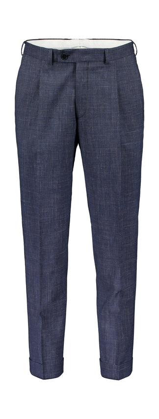 Slim fit pleated trousers in blue check (2139614969918)