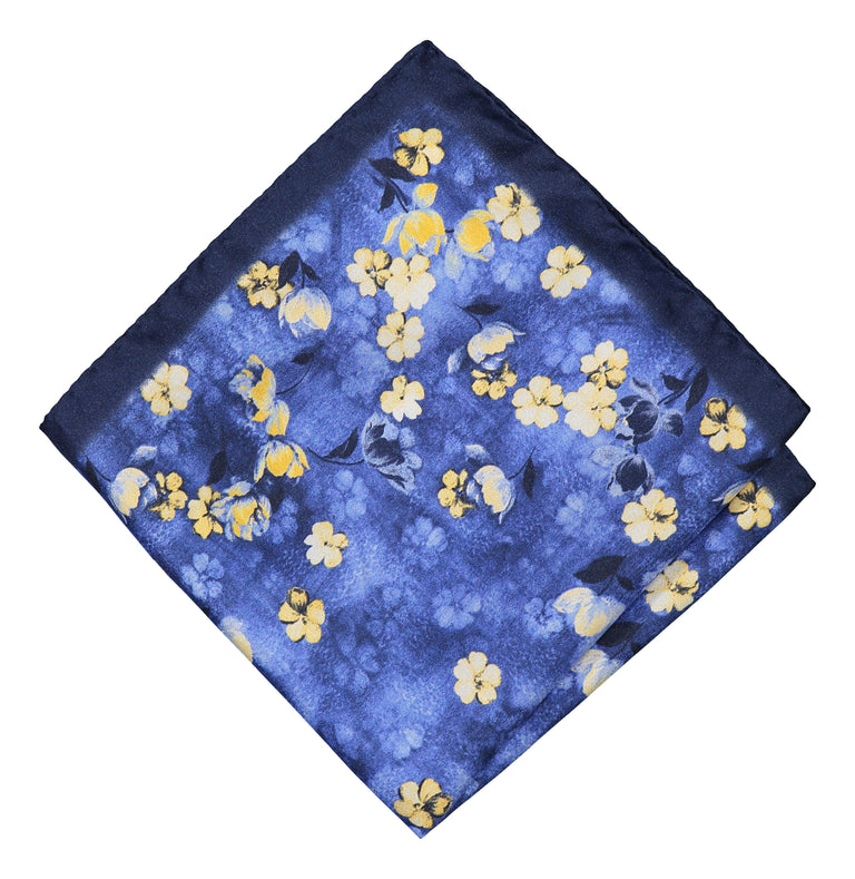 Watercolor blue pocket square