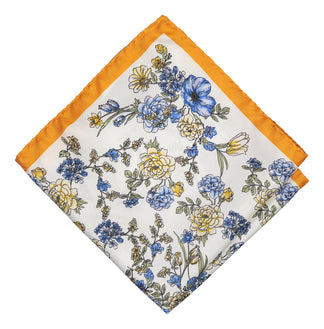 Yellow floral pattern pocket square