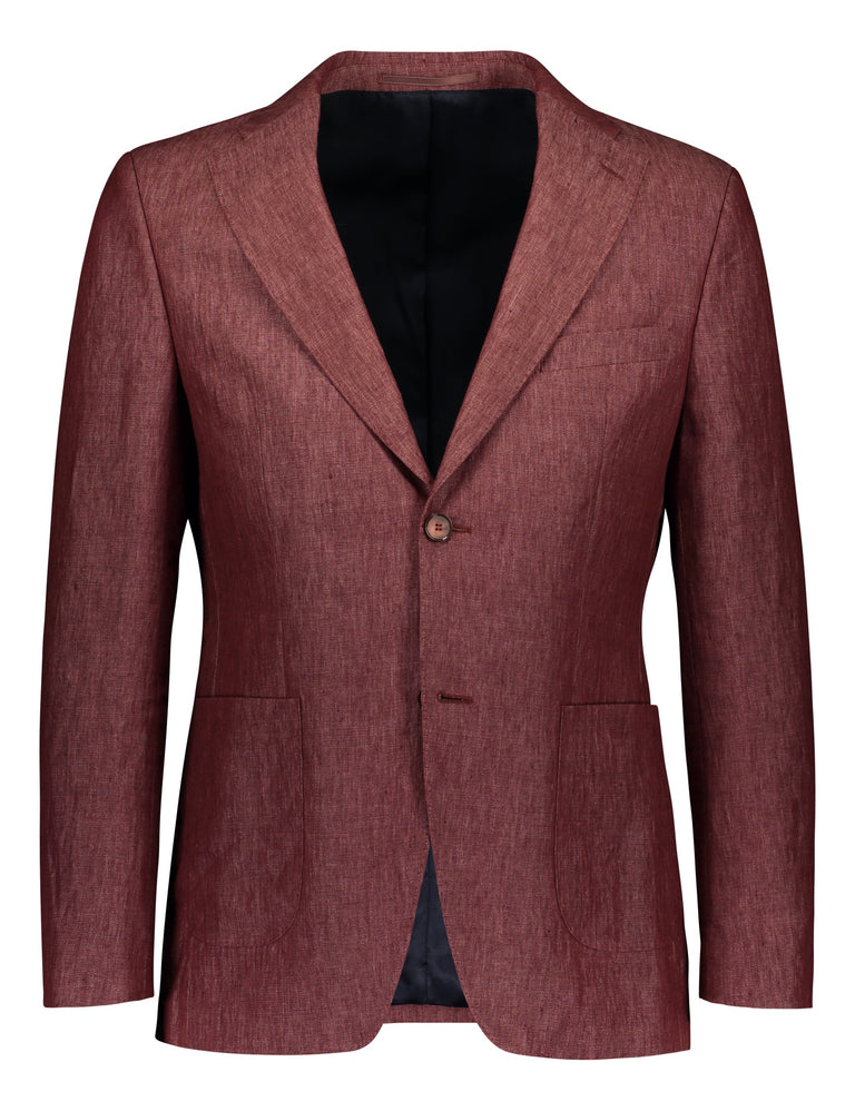 Earthy red linen suit in slim fit