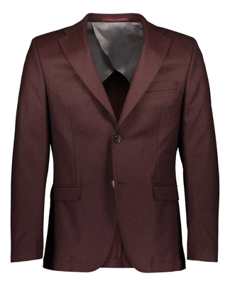 Slim fit suit in wine red flannel