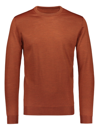 Merino knit crew neck warm orange