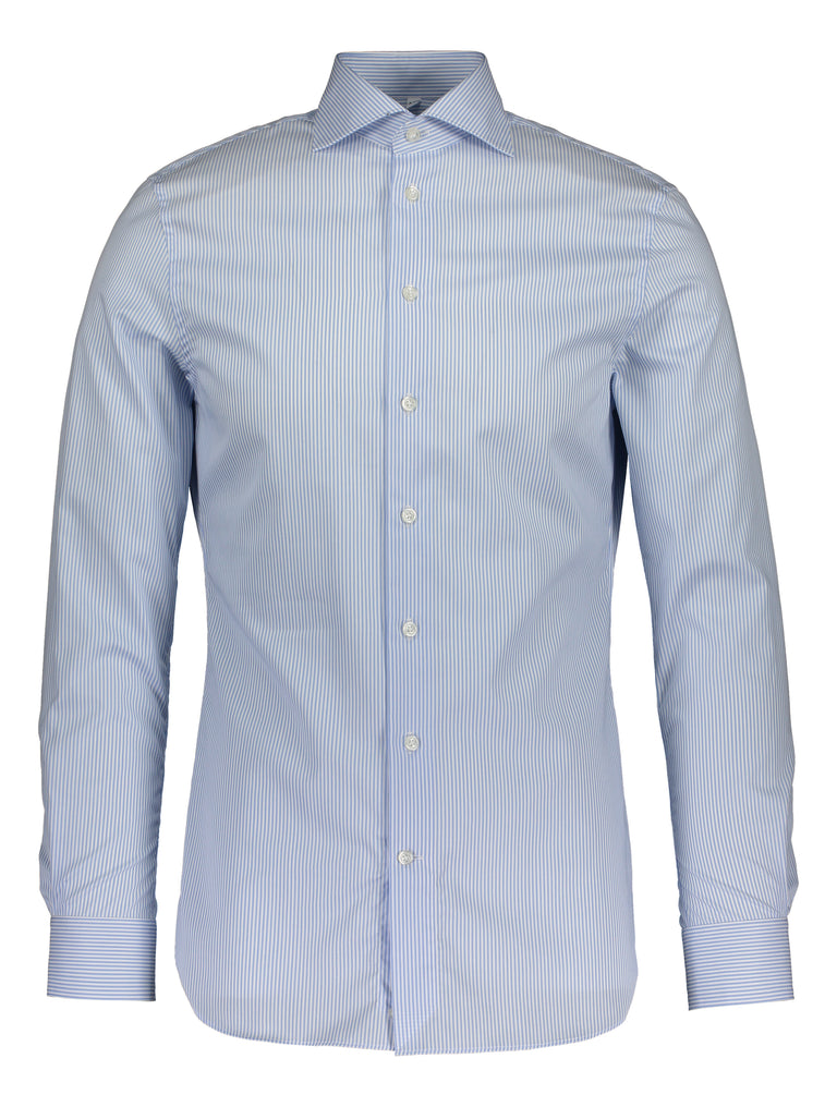 Slim fit shirt in Thomas Mason journey blue stripe (2013243146302)