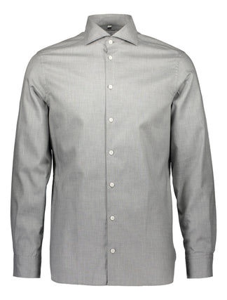 Slim shirt in cotton  melange, light grey