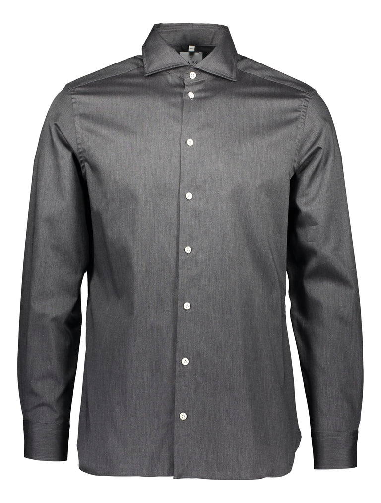Slim shirt in cotton melange, mid grey