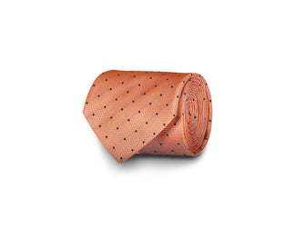 Orange silk tie with dots