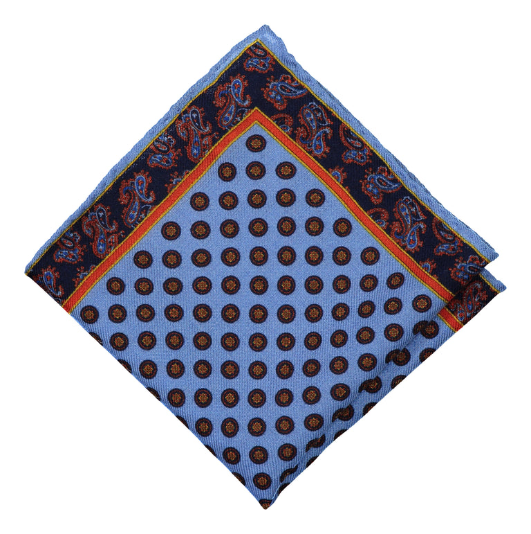 Pocket square blue stamp