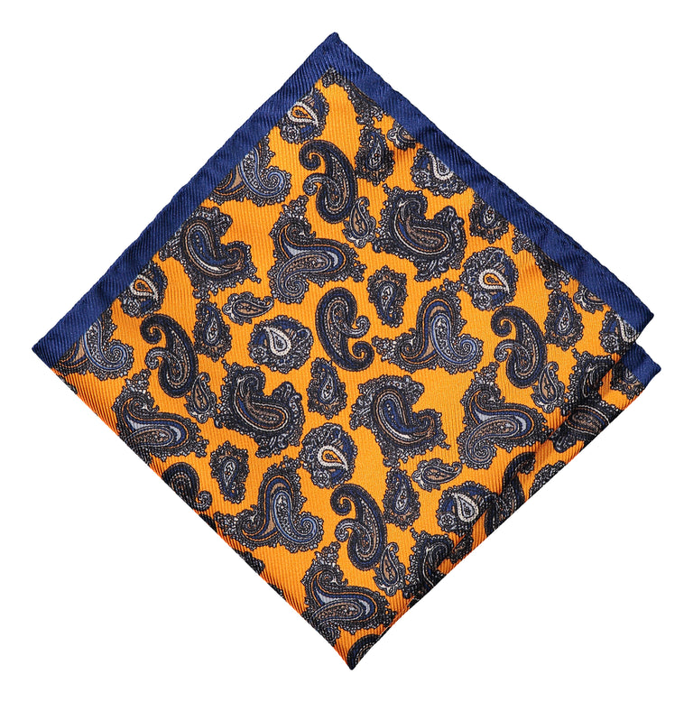 Pocket square with paisley and yellow