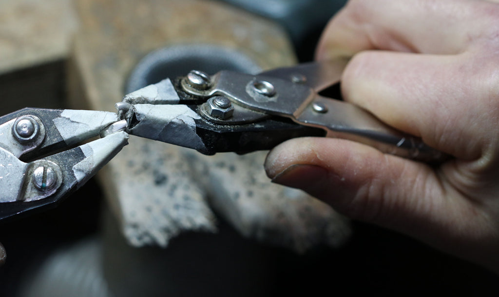 Diana Porter hand made chain process, opening the cut links