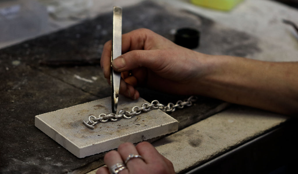 Diana Porter hand made chain process, facing links for soldering upwards