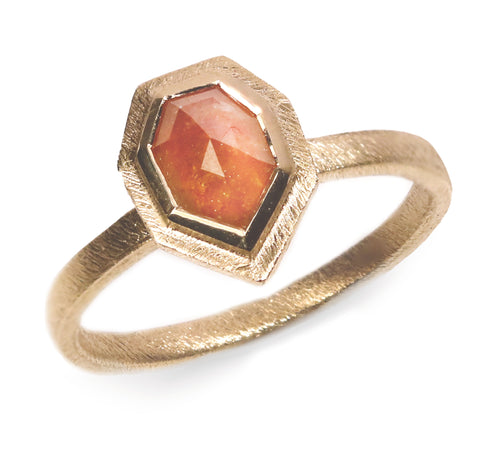 9ct Yellow Gold 'One-Of-Kind' Ring Set with Geometric Cognac Rose Cut Diamond