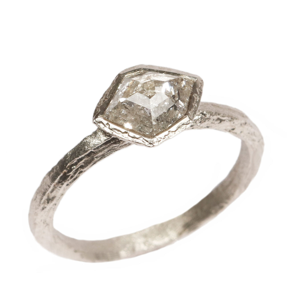 9ct White Gold 'One-Of-Kind' Ring with 0.79ct Salt and Pepper Shard Diamond