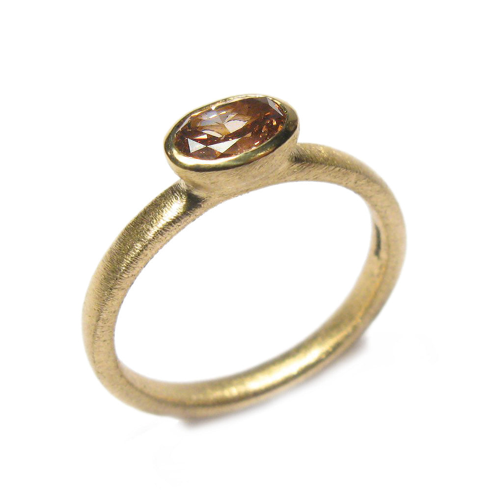 Diana Porter oval brown diamond yellow gold engagement ring