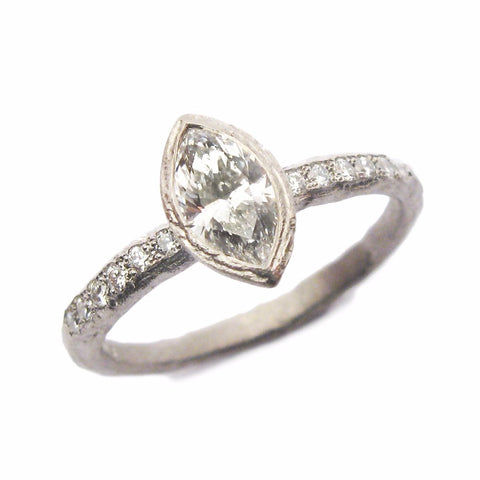 0.50ct Marquise Cut Diamond and White Gold Ring