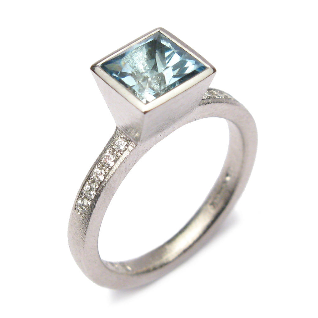 Bespoke - Platinum and Aquamarine Ring