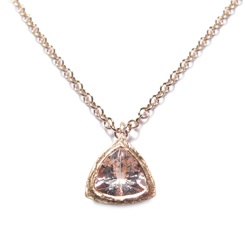 Bespoke - Trillion Cut Morganite and Rose Gold Pendant