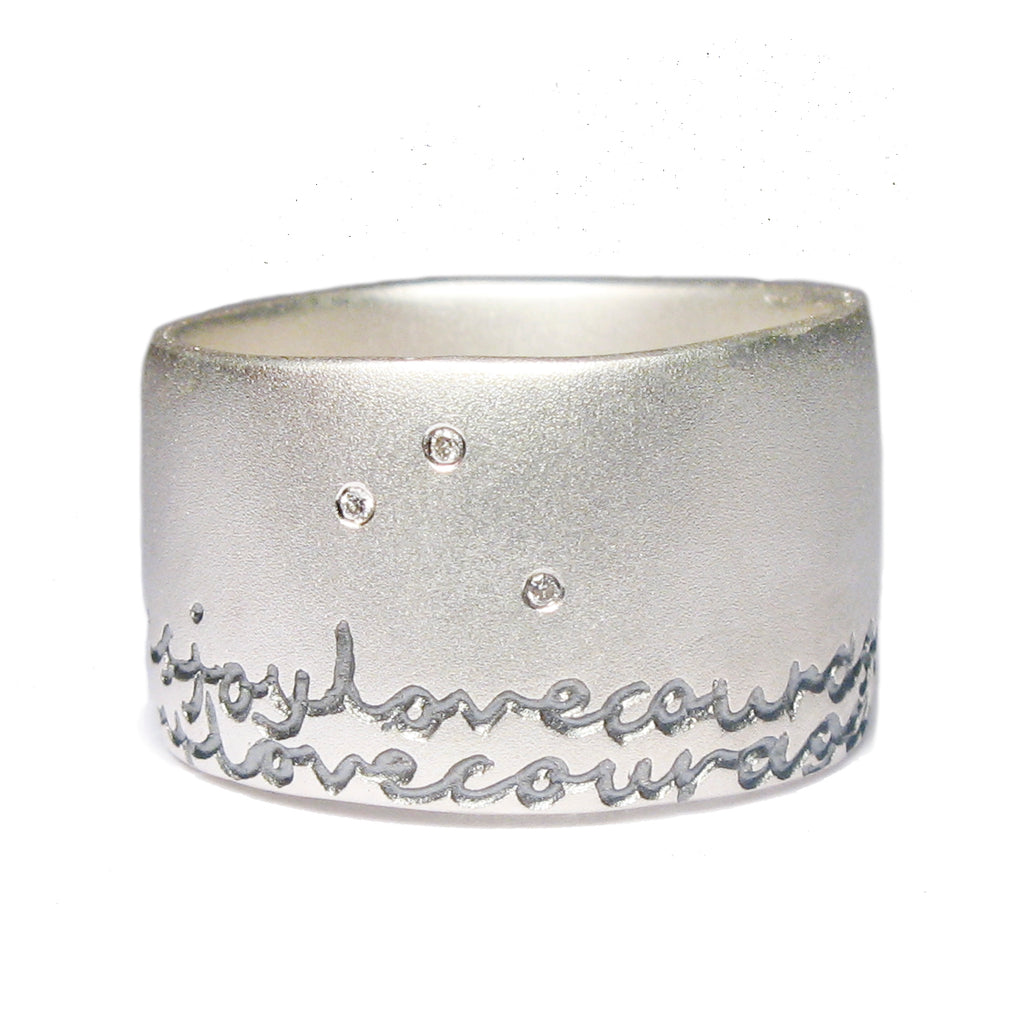 ce842badd0ac7 Bespoke - Wide Silver Ring with Personalised Words – Diana Porter