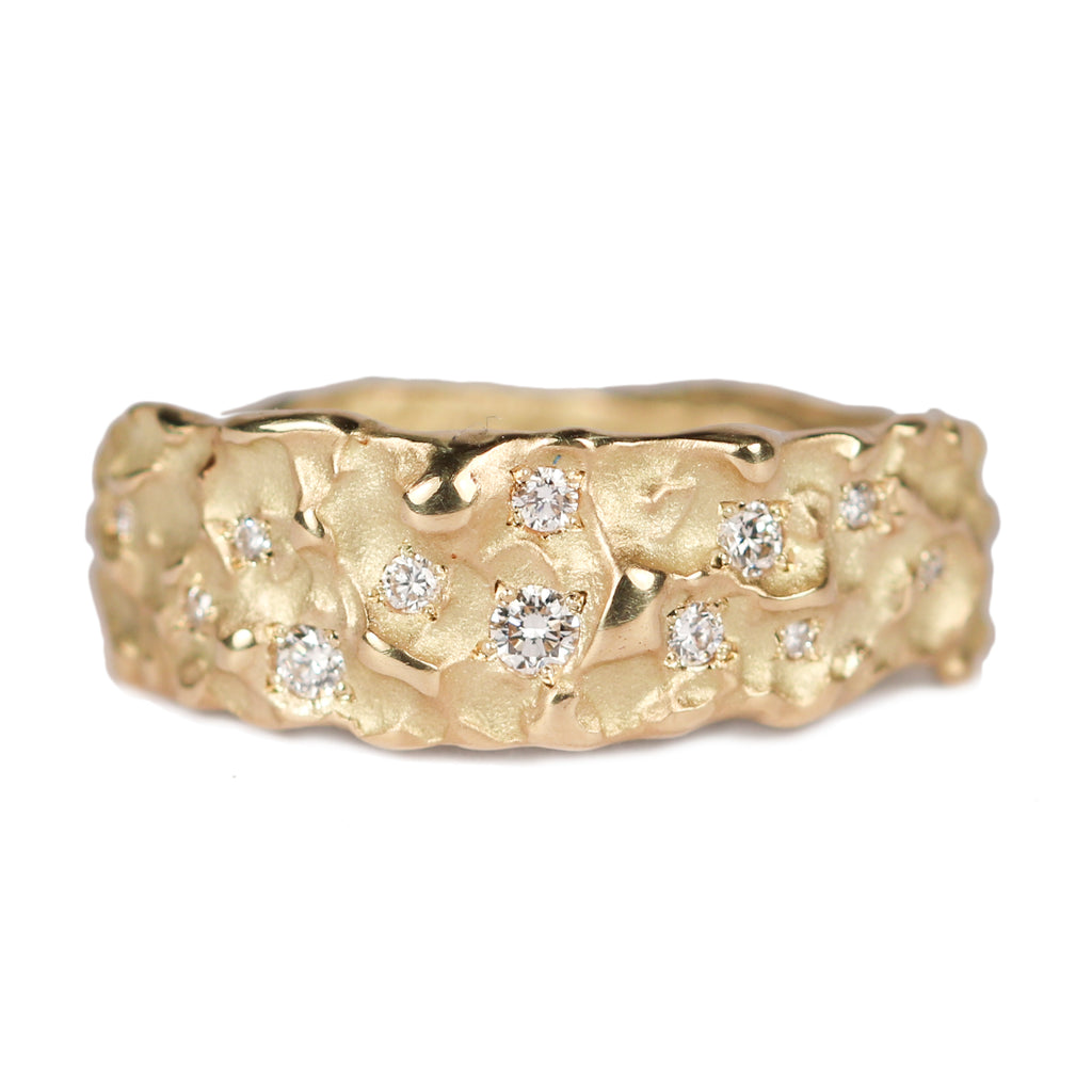 Bespoke - 18ct yellow gold textured gold and Diamond 'Molten' bespoke ring.