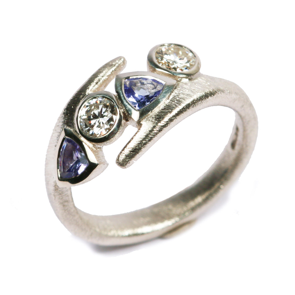 Bespoke - Tanzanite and Diamond, 9ct White Gold Ring