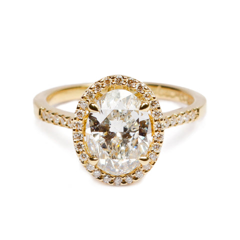 Bespoke - 1.60ct Oval Cut Diamond and 18ct Yellow Gold Ring