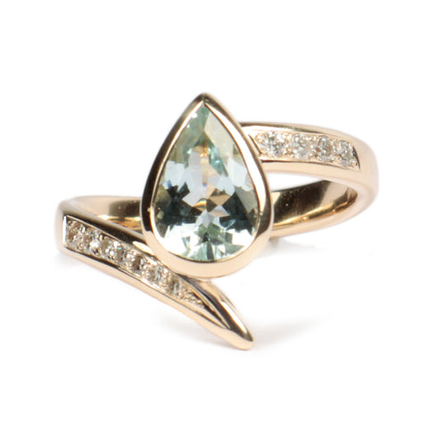 Bespoke - Pear Cut Topaz and Diamond, 9ct Yellow Gold Ring
