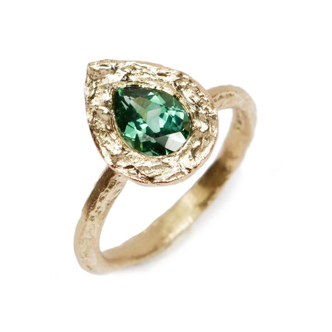 Bespoke 9ct Yellow Gold Ring with a Pear Cut Tourmaline