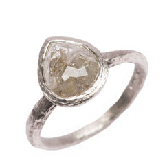 SOLD - Platinum 'One-Of-Kind' Ring with 1.93ct Rose Cut, Grey Pear Diamond