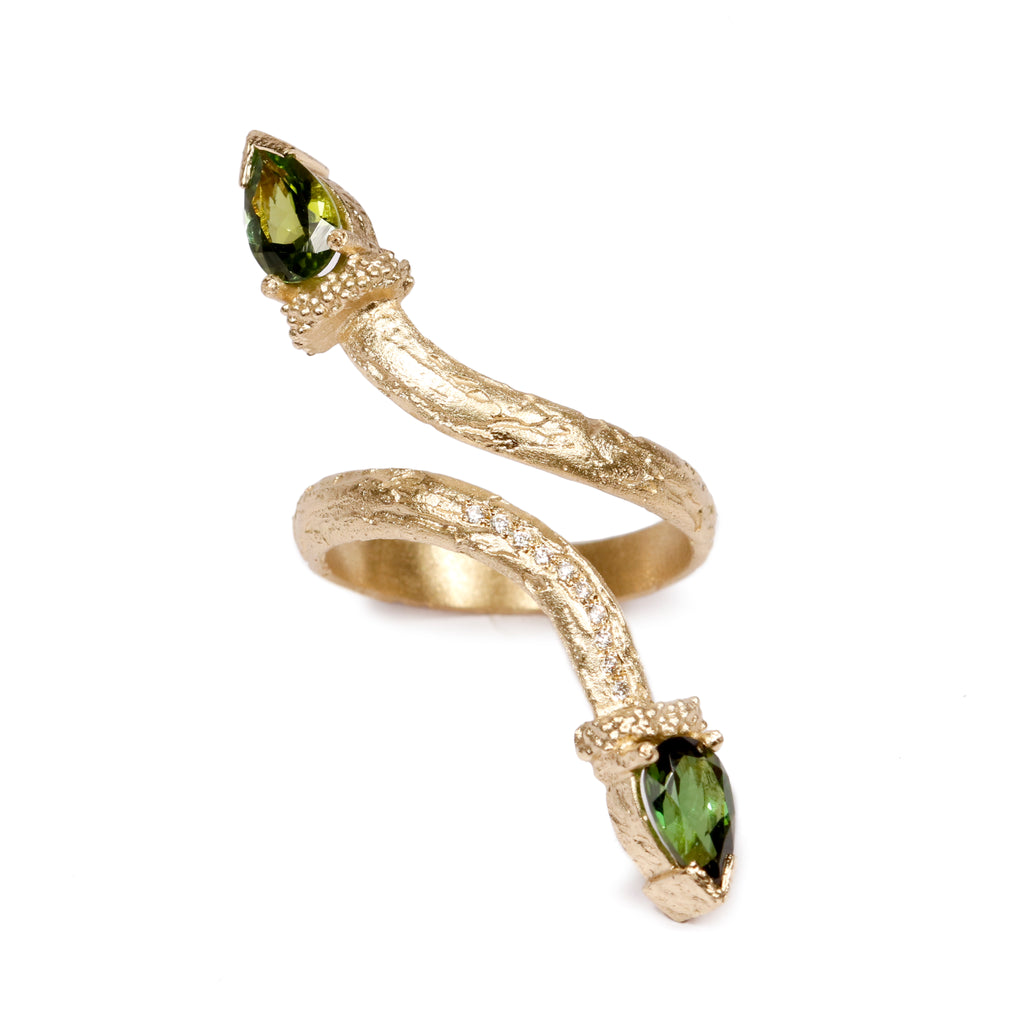 Bespoke - Tourmaline and Diamonds, 18ct Yellow Gold Ring