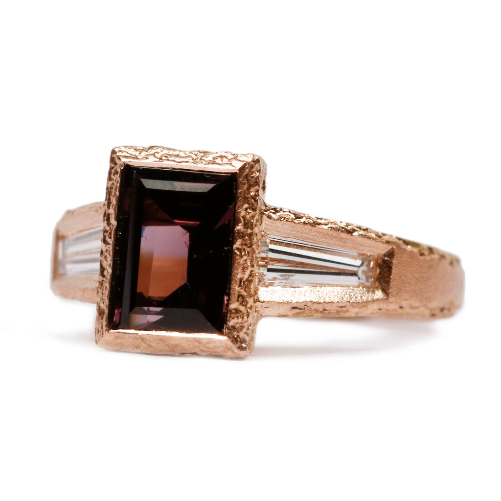 Bespoke - 18ct rose gold with purple spinel and baguette diamonds