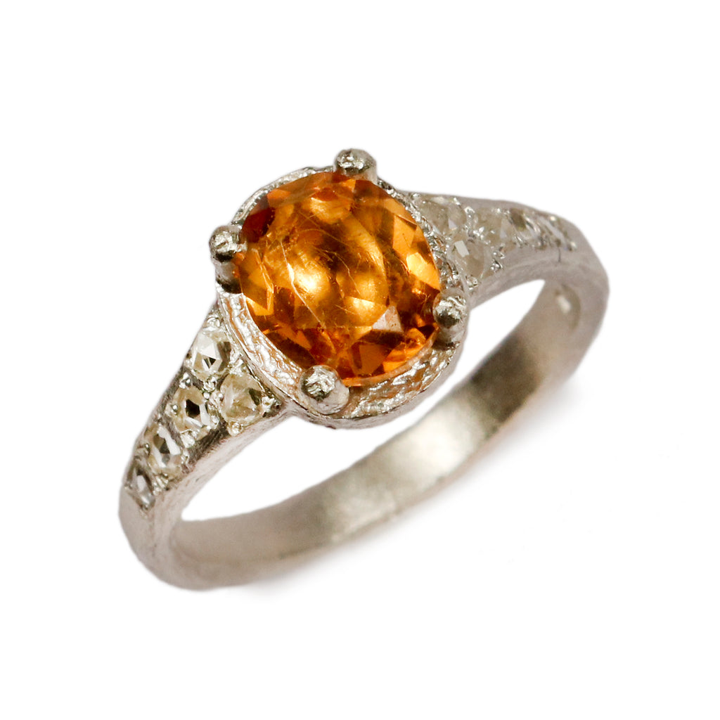 Bespoke - 9ct White Gold set with Citrine and Diamonds
