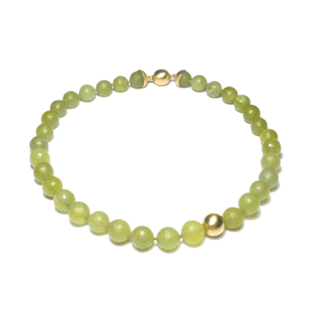 Contemporary Olive Serpentine bead and gold necklace