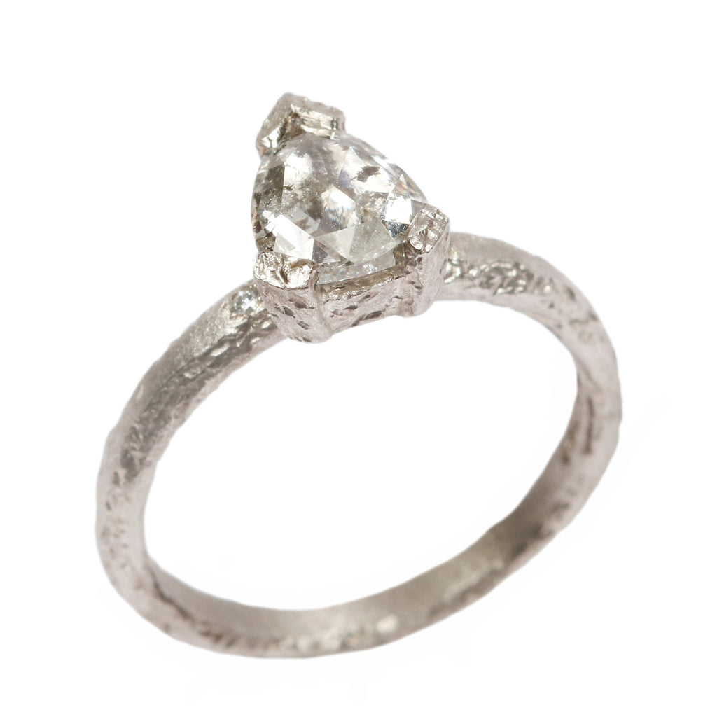 SOLD Platinum 'One-Of-Kind' Ring with 0.90ct Rose Cut, Grey Pear Diamond