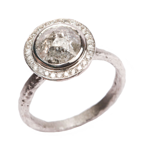 SOLD - Platinum 'One-Of-Kind' Ring with 1.93ct Salt and pepper, Rose Cut Diamond