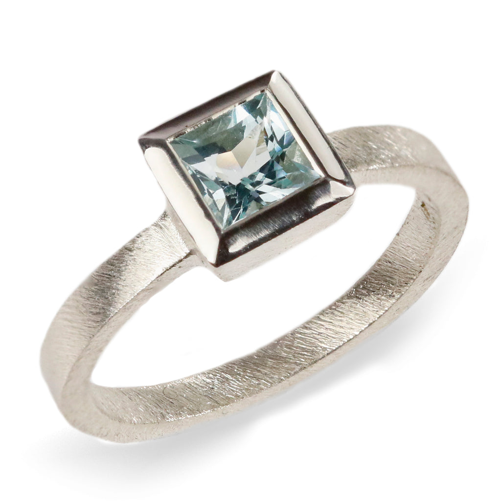 Princess Cut Aquamarine and 9ct White Gold Ring